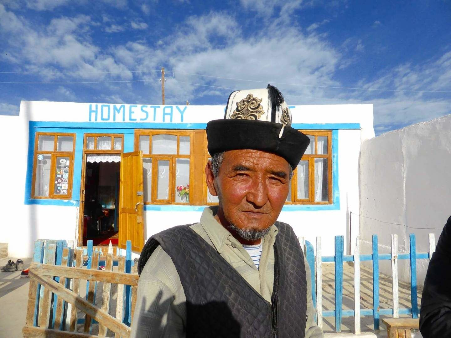 A Kyrgyz living in Tajik Pamirs, wearing proudly his Ak Kalpak every day