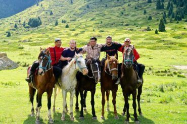 Horse riding in Kyrgyzstan, travel tourists with locals