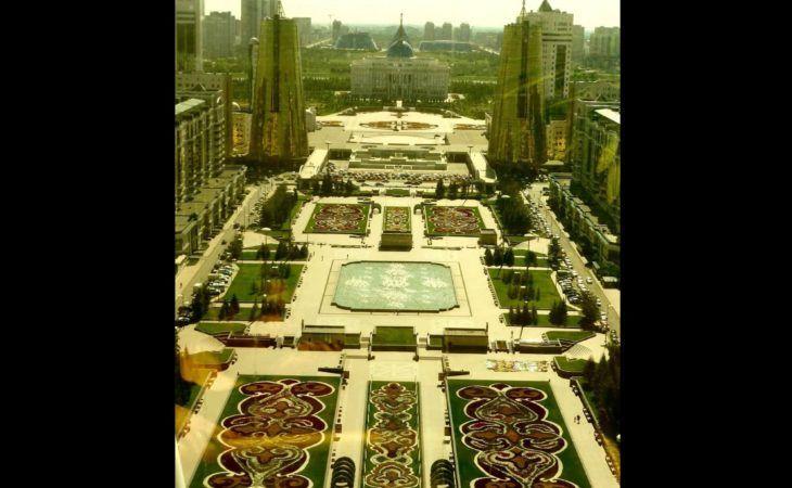 Astana, view from baiterek golden glass top