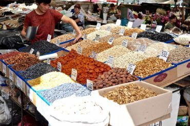 Dried fruits in bazaars Kyrgyzstan tour