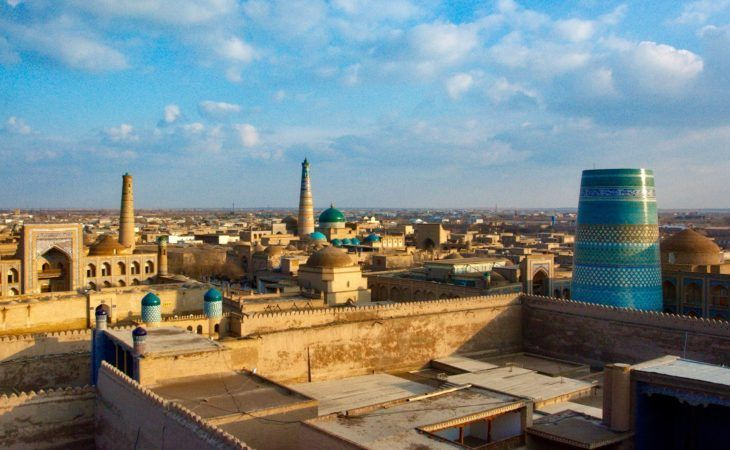 view of the ancient khiva, uzbekistan, central asia tour, silk road travel
