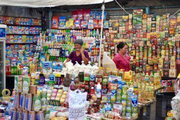 Variety of goods bazaar Kyrgyzstan