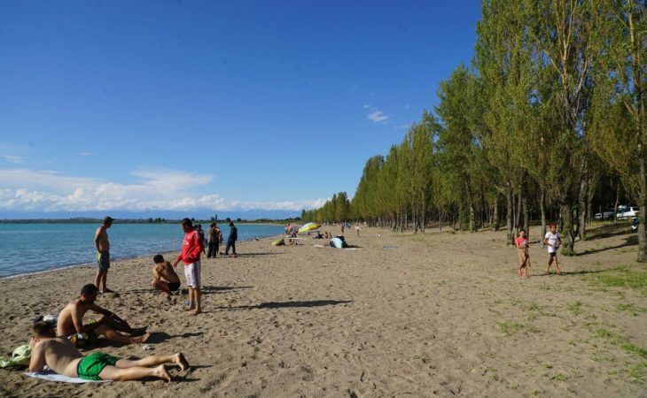vacations on the shore of the lake Issyk-Kul, Kyrgyzstan