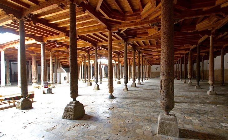 Best Central Asia Tour: Khiva juma mosque view of pillars