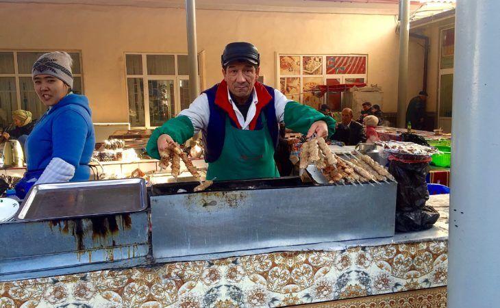 uzbek bazaar, shashlyk seller-central asia food