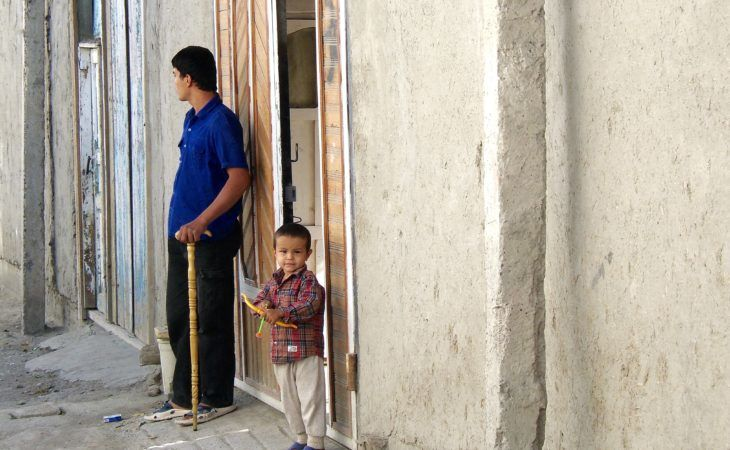 uzbek people in front of the house