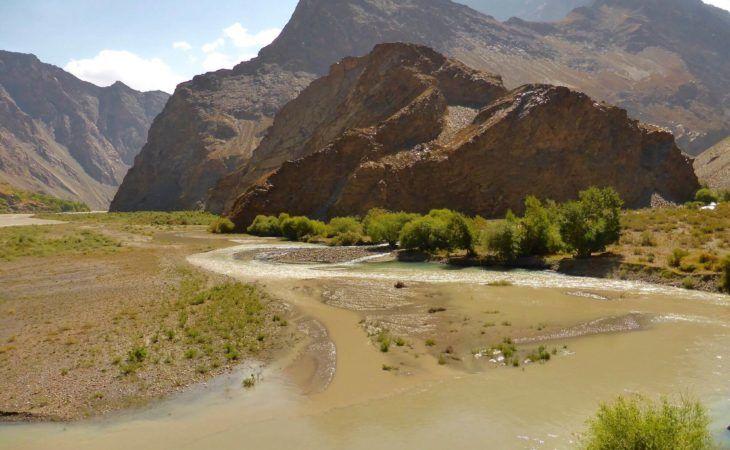Tajikistan Travel: Hills near river in Jisew Valley