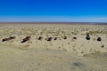 Muynak cemetery of ships aral sea - Uzbekistan