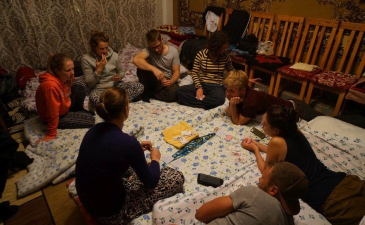playing games in the evening during Kyrgyzstan tour