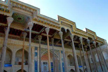 Bukhara mosque with pillars- tourism Uzbekistan