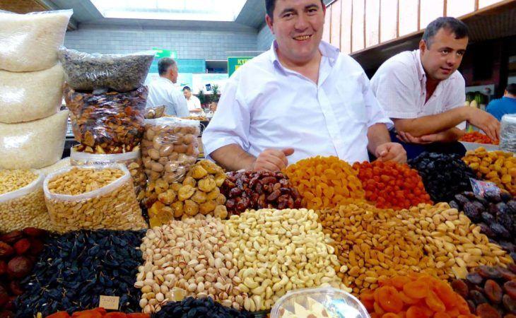 Dried Fruits Seller in Green Bazaar of Almaty