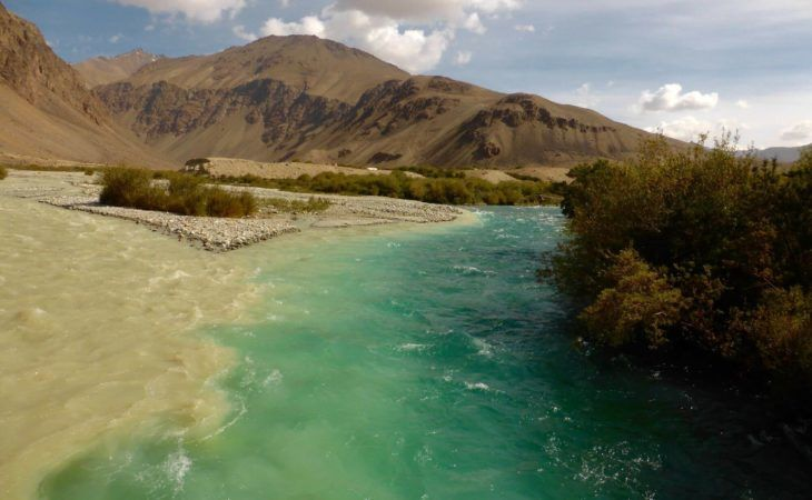 Conjuncton of two rivers - Tajikistan Pamir Highway Tour