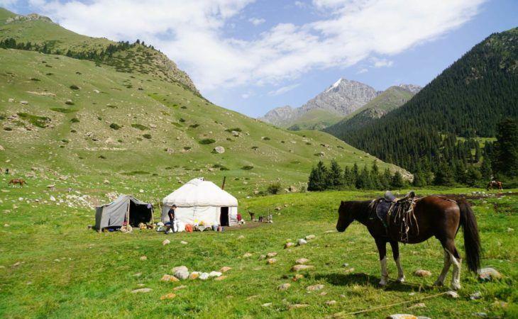 Horse in front of yurt in Kyrgyz mountain pasture in Kyrgyzstan & Kazakhstan Tour