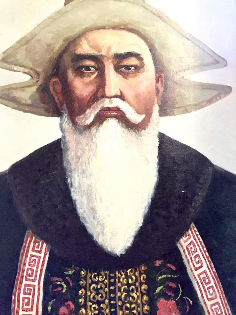 Depiction of an elderly wise man wearing Bakai Kalpak