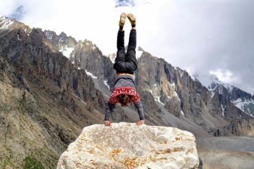 Handstand outdoor Kyrgyzstan