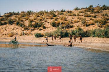 Uzbekistan scenery, AydarKul lake in the desert of Uzbekistan