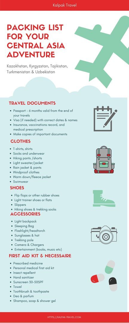 Packing List For Central Asia Trip  Blog  Kalpak Travel
