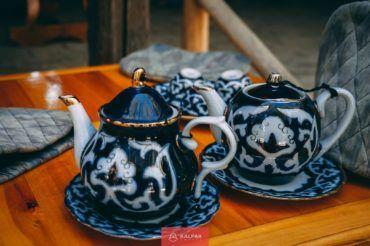Uzbekistan tea set, cotton pottery