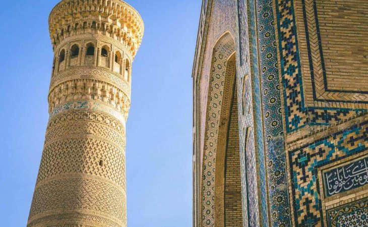 Uzbekistan tour in Bukhara and visiting of minaret