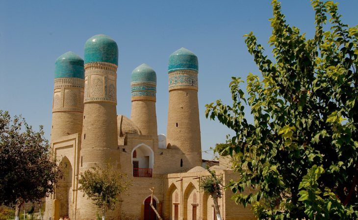 Chor Minor building with four minarets in Bukhara, Uzbekistan Tour visited in Central Asia Travels