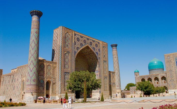 one of the great medreses, islamic architecture in samarkand tour, registan square- uzbekistan-trip