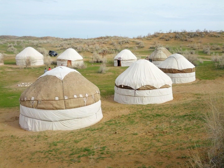 unique yurt camp in the desert of Uzbekistan, near aidarkul lake