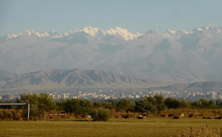 Bishkek suburbs mountains and field view