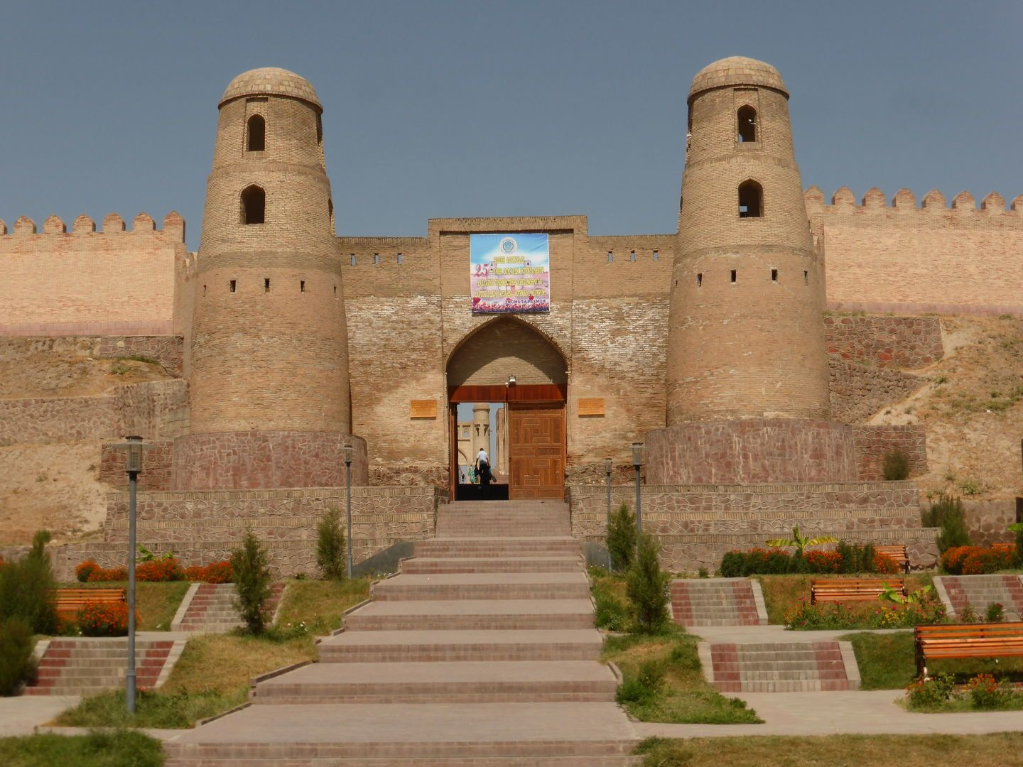 ancient fortress Hissar with two watch towers, just outside Dushanbe in central asia tour