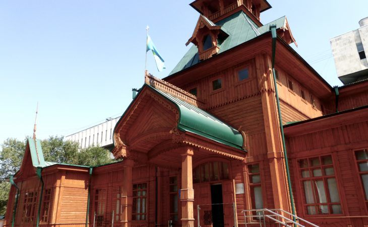 old wooden building of Zenkov, with a museum for musical instruments. Almaty, Kazakhstan