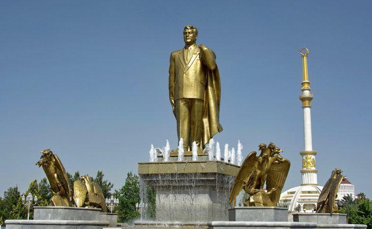 Golden Statue of Turkmenbashi in Turkmenistan