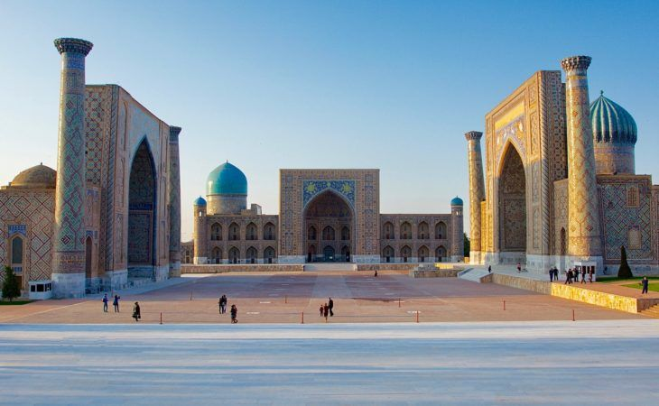 three madrasas or religious schools in Registan square of Samarkand, uzbekistan, central asia tour, silk road