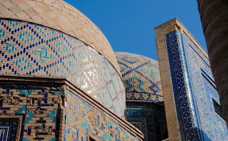 zoomed capture of samarkand architecture, central asia travel