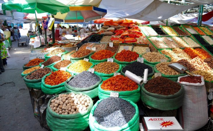 Osh Bazaar, Kyrgyzstan has a variety of dried fruits in Central Asia