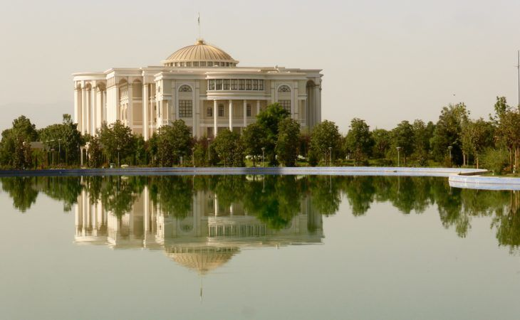 palace in front of water in Rudaki park in Dushanbe center, Central Asia Tour
