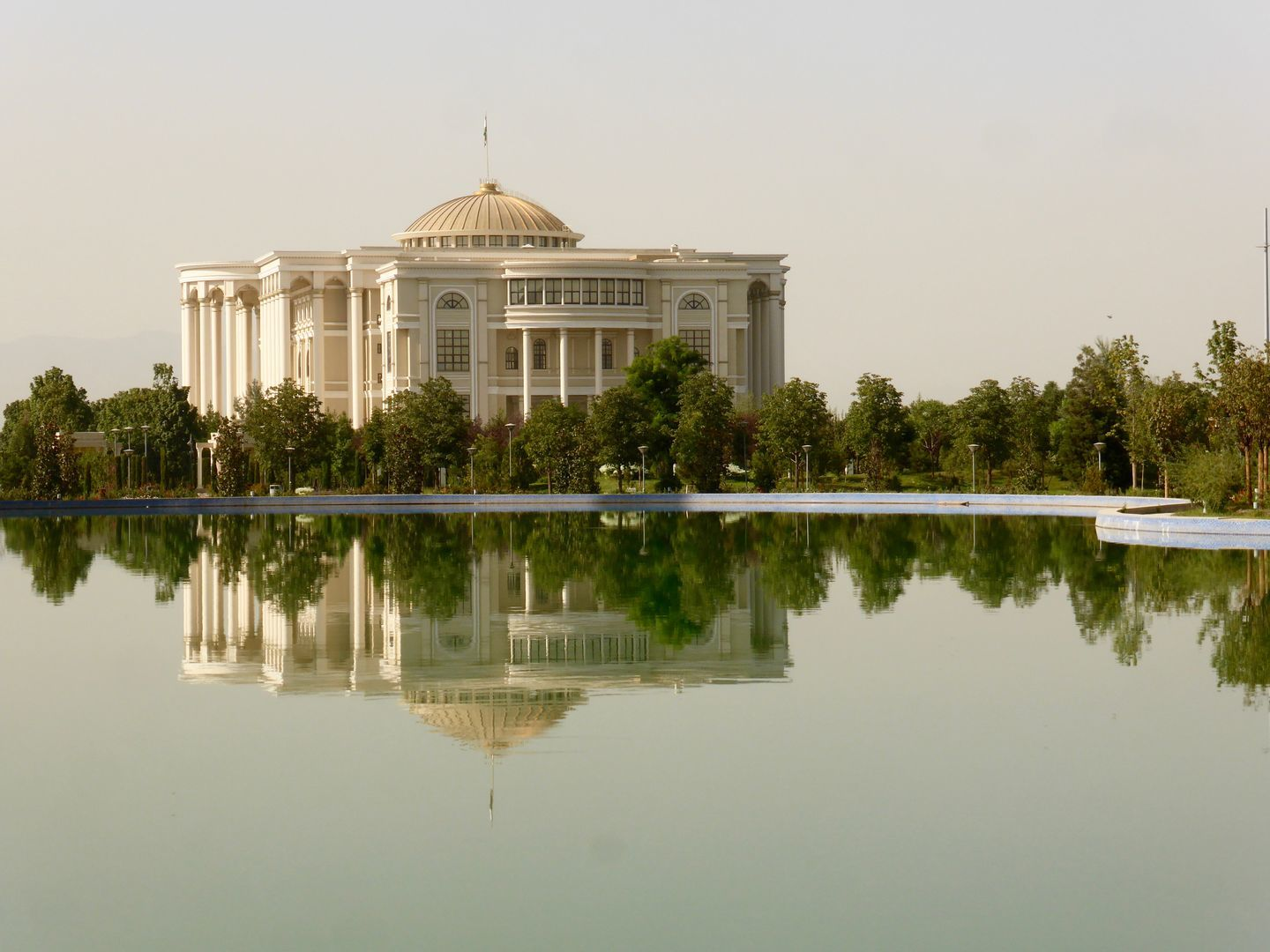 palace in front of water in Rudaki park in Dushanbe center, presidential palace-government