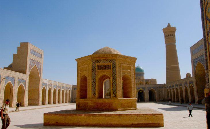 Bukhara yard with tall minaret. Uzbekistan, Central Asia Tour