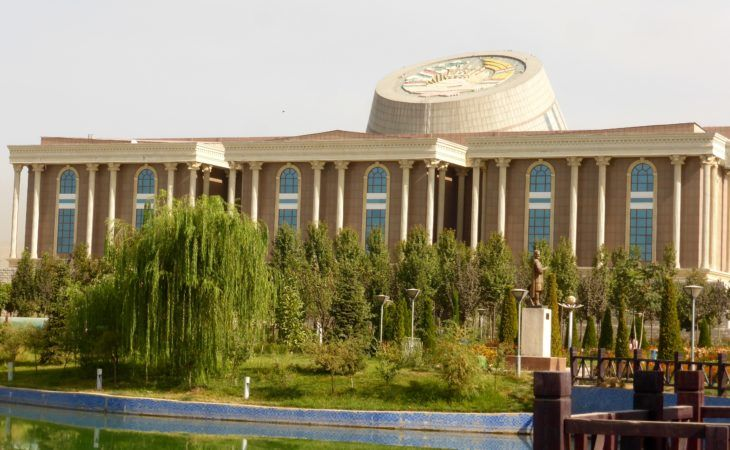 national museum with huge roof emblem in Dushanbe- Tajikistan