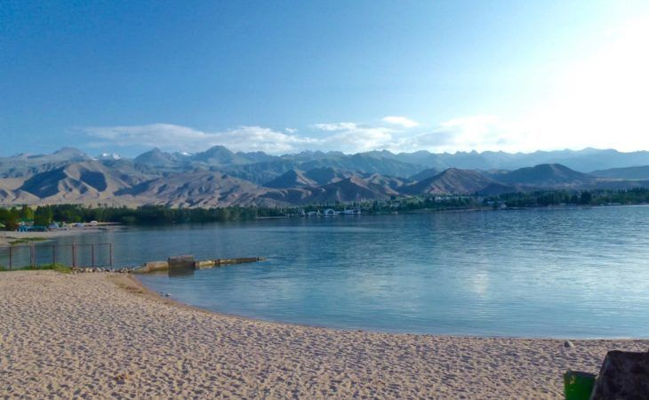 Mountain lake issyk kul perfect in summer for swimming-kyrgyzstan