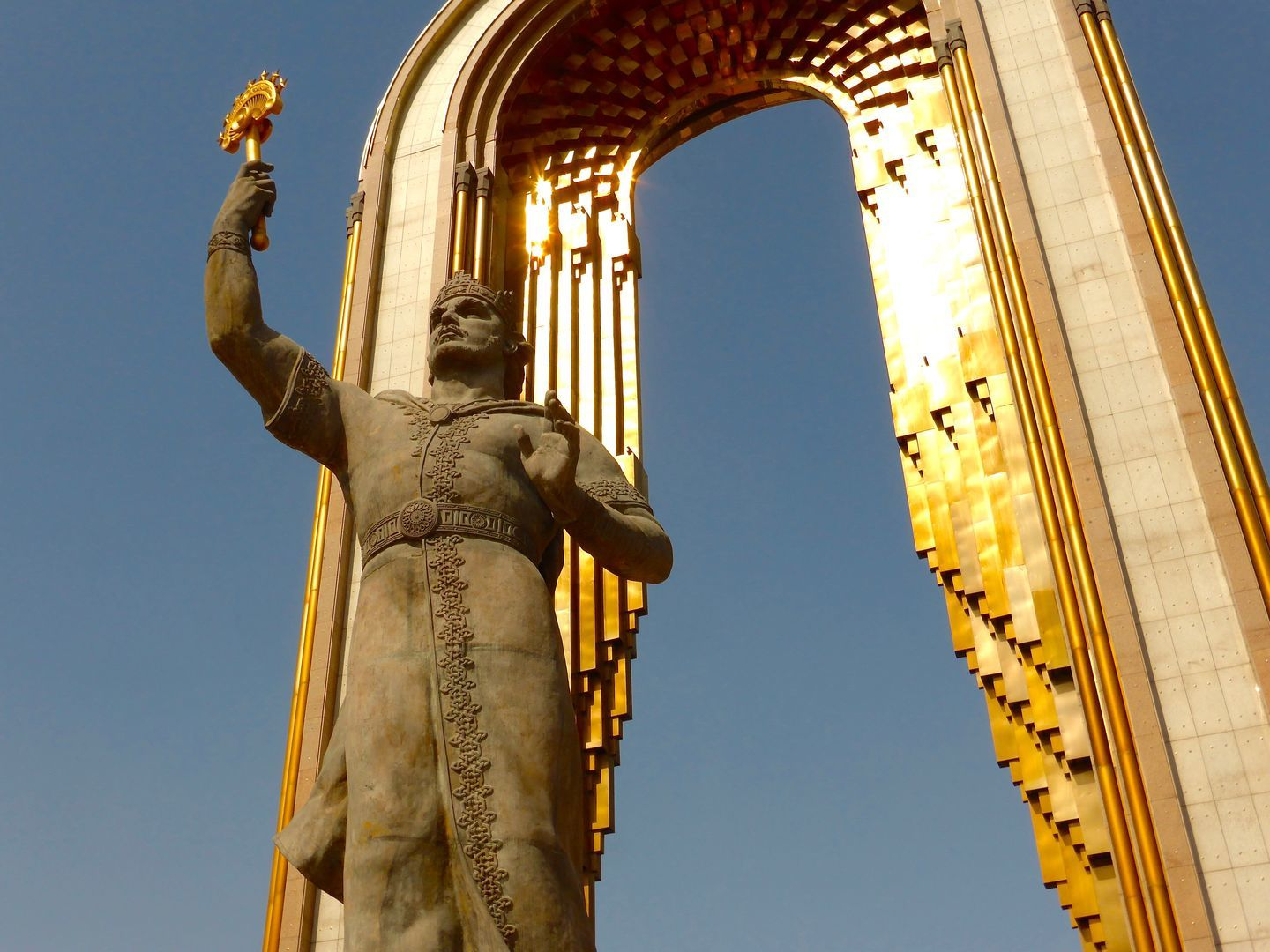 statue of Samanid ruler Ismail Somoni with golden crown in Dushanbe main Square shows tajikistan culture