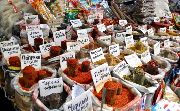 variety of spices written in Russian, in Osh bazaar, Bishkek, Silk Road