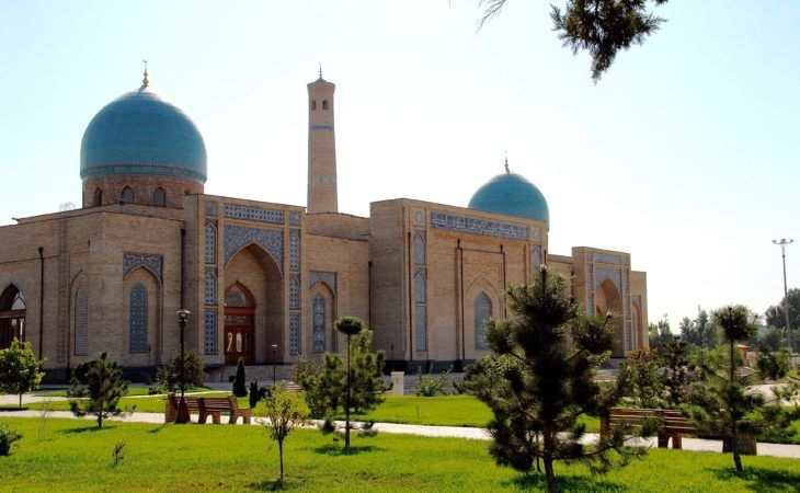 Mosque in the center of Tashkent with two blue domes in Uzbekistan, Central Asia Tour