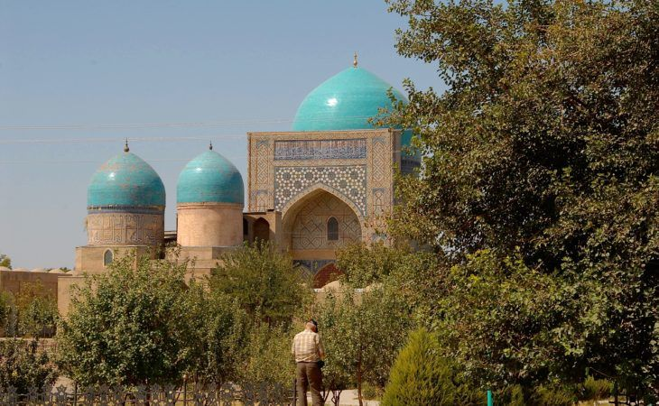 Tashkent mosque & medrese with trees and three blue domes