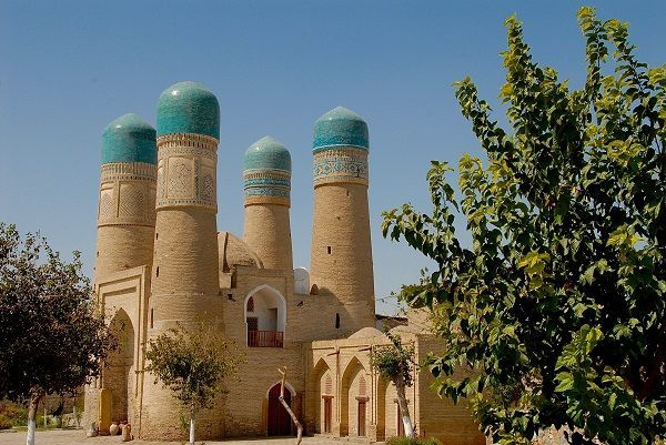 mosque with four minarets in Bukhara
