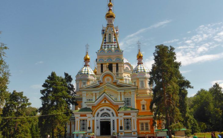 Zenkov wooden cathedral in Almaty with colorful full facade in Central Asia Tour