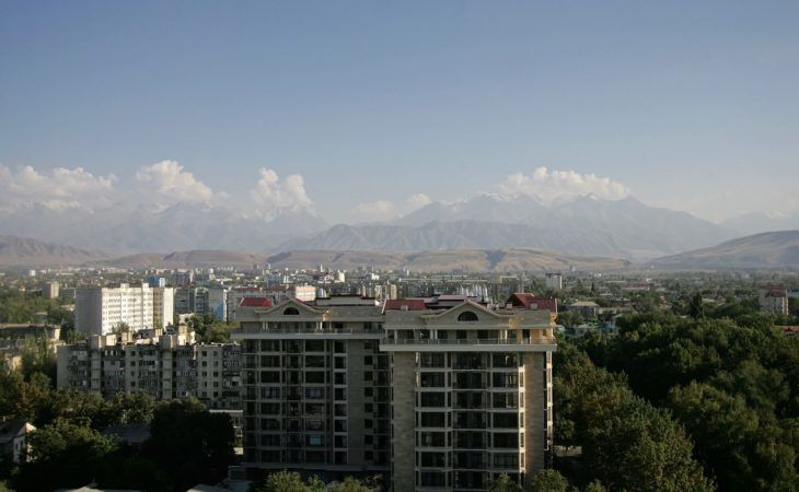 rooftop view of Bishkek with buildings and park
