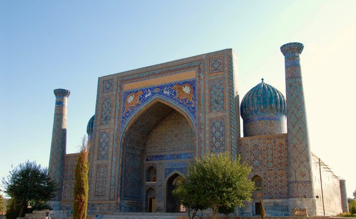 one of the buildings of the regitan square in samarkand-central asia travel