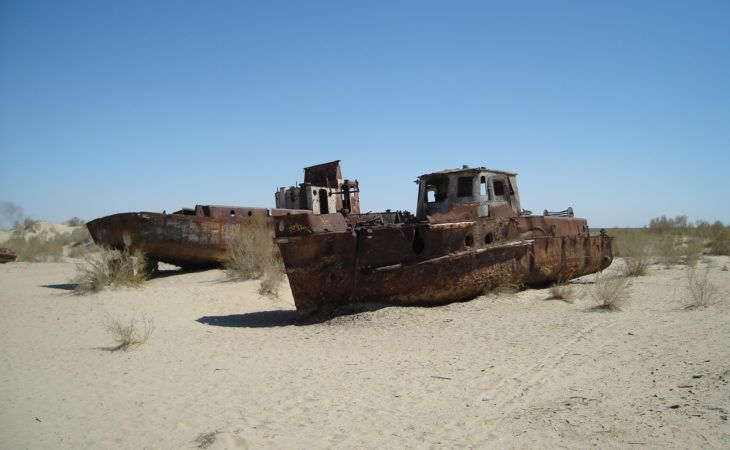 abandoned ships at aral sea, near muynak, the cemetery of ships, uzbekistan
