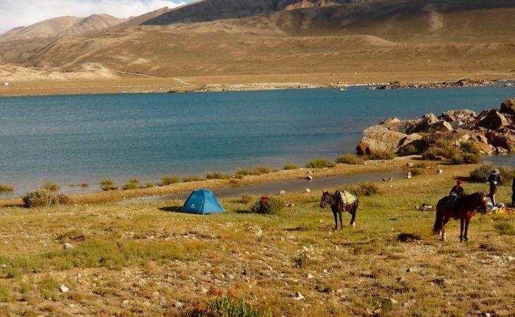 camping near lake on dushanbe-bishkek tour