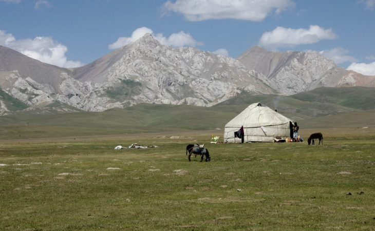 nomad life in Kyrgyzstan, people living in yurts