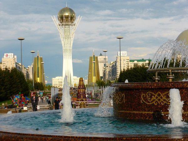 Baiterek-symbol of Kazakhstan-a golden circle on top of tree structure